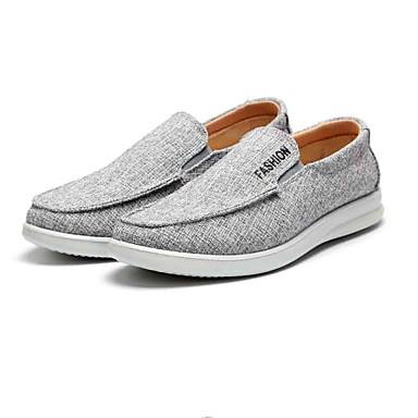 Homens sapatos Tecido Primavera Outono Solados com Luzes Conforto Mocassins e Slip-Ons Caminhada para Casual Ao ar livre Cinzento Claro