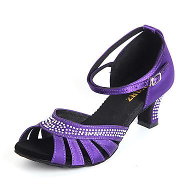 Damen Schuhe für den lateinamerikanischen Tanz Satin Absätze Schnalle / Kristalle / Strass Maßgefertigter Absatz Maßfertigung Tanzschuhe Purpur / Rot / Hautfarben / Innen / Leder