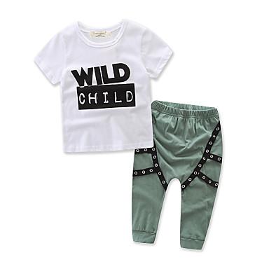 Chlapecké 100% bavlna Módní Pecky Sady oblečení, Krátký rukáv Šaty Armádní zelená