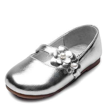 Para Meninas sapatos Courino Primavera Outono Sapatos para Daminhas de Honra Conforto Rasos Pérolas Sintéticas Apliques para Casamento