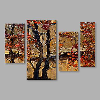 Pintura a Óleo Pintados à mão - Paisagem Abstracto Irregular Moderno / Contemporâneo Tela de pintura 4 Painéis