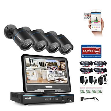 Sannce® 4ch 4pcs 720p lcd dvr sistema de segurança à prova de intempéries compatível com câmera analógica ahd tvi ip sem hdd