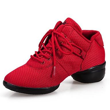 Damen Schuhe Stoff Frühling / Sommer / Herbst Komfort / Modische Stiefel Stiefel Walking Blockabsatz Runde Zehe Tupfen Schwarz / Rot