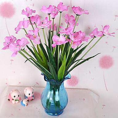 1 haara Muovi Orkideat Pöytäkukka Keinotekoinen Flowers