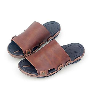Pánské Obuv Nappa Leather Kůže Jaro Pohodlné Pantofle a Žabky pro Ležérní Kávová