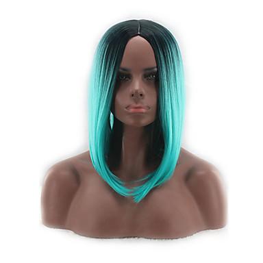 Ženy Krátký Střední Modrá Bob uprostřed Střih Bob Umělé vlasy Bez krytky paruky