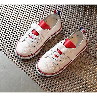 Tyttöjen kengät PU Tekonahka Kevät Syksy Tasapohjakengät Kävely Tarranauhalla varten Musta Punainen Vihreä