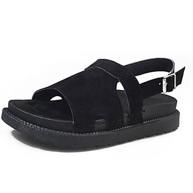 Dámské Boty PU Koženka Léto Pohodlné Sandály Rovná podrážka Otevřený palec Pro Ležérní Černá