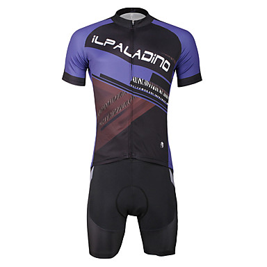ILPALADINO Men's Short Sleeves Cycling Jersey with Shorts - Black Skull Bike Clothing Suits, 3D Pad, Quick Dry, Ultraviolet Resistant,