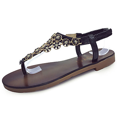 Naiset Sandaalit Comfort Kesä Kumi Kävely Tasapohja Kulta Musta Alle 1in