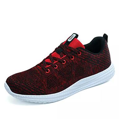 Pánské Obuv Tyl Jaro Podzim Pohodlné Atletické boty Běh Šněrování pro Venkovní Šedá Červená Zelená Modrá