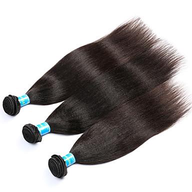 baratos Extensões de Cabelo Natural-3 pacotes Cabelo Malaio Yaki 8A Cabelo Humano Cabelo Humano Ondulado Tramas de cabelo humano Extensões de cabelo humano