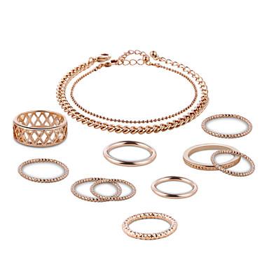 Mulheres Rosa Folheado a Ouro Conjunto de jóias - Original Formato Circular Dourado Conjunto de Jóias Para Festa Aniversário O negócio
