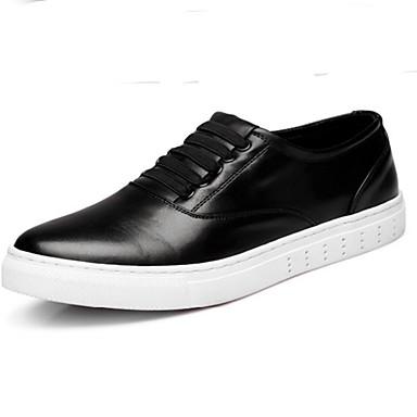 Homens sapatos Couro Outono Inverno Inovador Conforto Tênis para Atlético Casual Ao ar livre Branco Preto