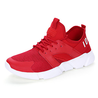 Homens sapatos Borracha Primavera Outono Conforto Tênis Cadarço para Ao ar livre Branco Preto Vermelho