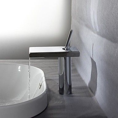 Bathroom Sink Faucet - Waterfall Thermostatic Chrome Deck Mounted Single Handle One Hole