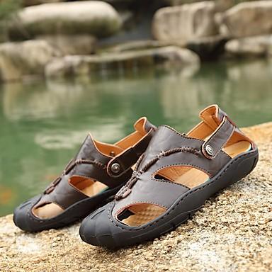 Pánské Boty Kůže Tyl Jaro Pohodlné Sandály Pro Ležérní Žlutá Tmavěhnědá