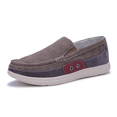 Miehet kengät Canvas Kevät Kesä Comfort Mokkasiinit Kävely varten Kausaliteetti Musta Harmaa Ruskea Vihreä