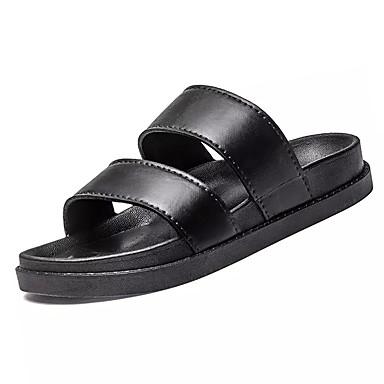 Herrn Schuhe PU Sommer Komfort Sandalen für Draussen Weiß Schwarz