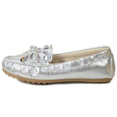Mulheres Sapatos Tecido Microfibra Primavera Verão Conforto Solados com Luzes Mocassins e Slip-Ons Sem Salto Ponta Redonda Pedrarias Laço