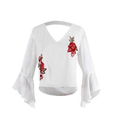 Damen Stickerei - Einfach Street Schick Ausgehen Bluse, V-Ausschnitt Bestickt Aufflackern-Hülsen-