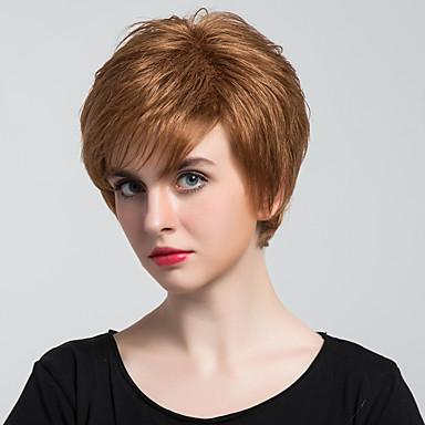 Perucas de cabelo capless do cabelo humano Cabelo Humano Liso Corte Pixie Com Franjas Parte lateral Curto Fabrico à Máquina Peruca