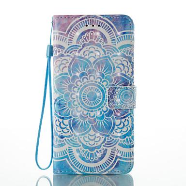 Capinha Para Apple iPhone X iPhone 8 Porta-Cartão Carteira Com Suporte Flip Estampada Capa Proteção Completa Mandala Rígida PU Leather