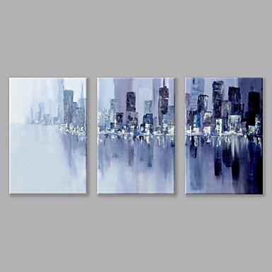 Maalattu Abstrakti Vaakatasoinen panoraama, Abstrakti Kangas Hang-Painted öljymaalaus Kodinsisustus 3 paneeli
