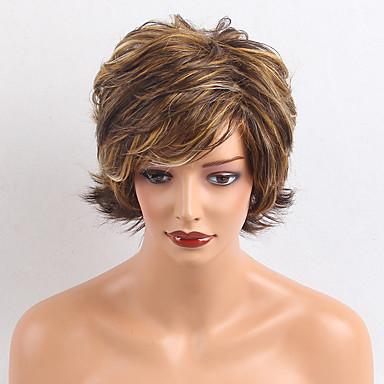 Perucas de cabelo capless do cabelo humano Cabelo Humano Ondulado Natural Corte em Camadas Com Franjas Parte lateral Curto Fabrico à