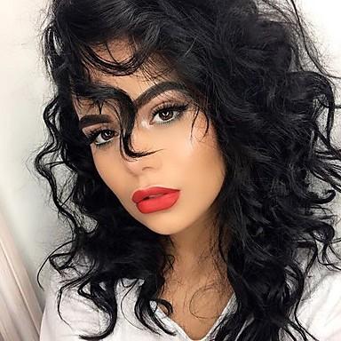 Ekte hår Halvblonder uten lim Blonde Forside Parykk Bølget Parykk 130% Hair Tetthet Naturlig hårlinje Afroamerikansk parykk 100 % håndknyttet Dame Lang Blondeparykker med menneskehår