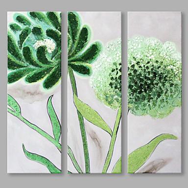 Pintados à mão Floral/Botânico Panorâmico vertical, Flor Abstracto Tela de pintura Pintura a Óleo Decoração para casa 3 Painéis