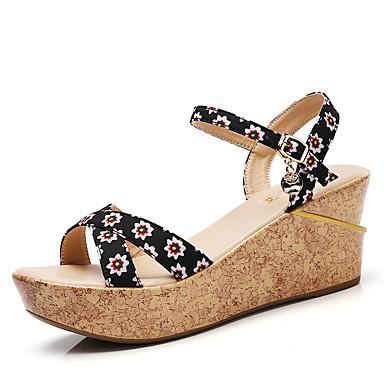 Mujer Zapatos Vaquero Verano Confort Sandalias Media plataforma Dedo redondo Negro / Rojo / Negro / blanco GNJCH