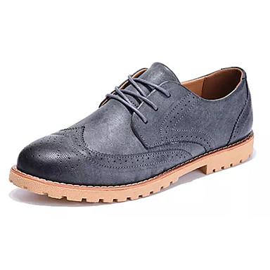 Homens sapatos Couro Ecológico Primavera Outono Conforto Tênis Cadarço para Casual Cinzento Marron