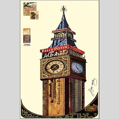 Ručně malované ArchitekturaAbstraktní Jeden panel Plátno Hang-malované olejomalba For Home dekorace