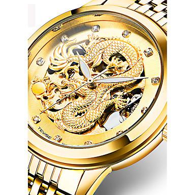 Недорогие Армейские часы-Муж. Спортивные часы Часы со скелетом Армейские часы Swiss С автоподзаводом Нержавеющая сталь Золотистый 30 m Защита от влаги Календарь Аналоговый Кулоны Роскошь На каждый день Кольцеобразный Мода -