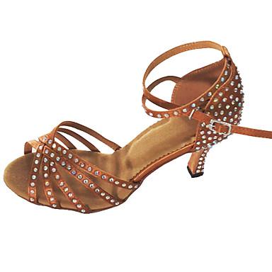 Mulheres Latina Cetim Sandália Interior Pedrarias Salto Personalizado Dourado Preto Amêndoa Personalizável
