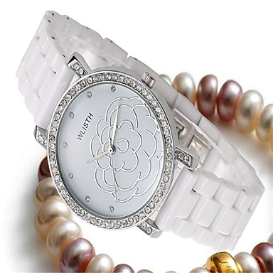 baratos Relógios Homem-Mulheres Relógio de Moda Quartzo Cerâmica Branco Analógico Casual - Dourado Branco