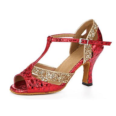 Mulheres Sapatos de Dança Latina Courino Sandália / Têni Lantejoulas Salto Robusto Não Personalizável Sapatos de Dança Vermelho / Couro