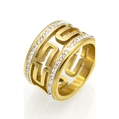 Pánské Dámské Prsten Vyzvánění Band Ring Kubický zirkon Zlatá Stříbrná Zirkon Titanová ocel 18K zlato Kulatý Geometric Shape Přizpůsobeno