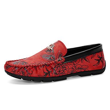 Miesten kengät Tekonahka Kevät Syksy Mokkasiinit Kävely Kukkakuvio varten Oranssi Maan keltainen Sininen