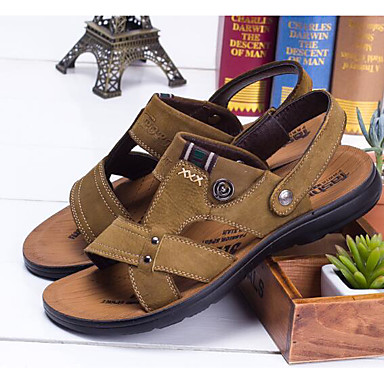 Miehet kengät Aitoa nahkaa Oxford Kesä Comfort Sandaalit Käyttötarkoitus Kausaliteetti Vaalean ruskea Khaki