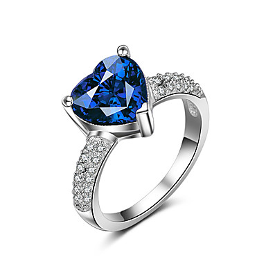 Damen Ring Verlobungsring Synthetischer Saphir Kubikzirkonia Klassisch Elegant Modisch Synthetische Edelsteine Kubikzirkonia Herz Schmuck