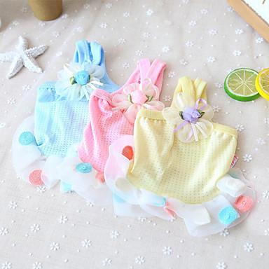 Cachorro Vestidos Roupas para Cães Poá Amarelo / Azul / Rosa claro Chifon / Algodão Ocasiões Especiais Para animais de estimação Verão Mulheres Casual / Fashion