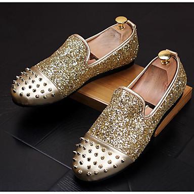 Herren Schuhe Leder Frühling Komfort Loafers & Slip-Ons Für Normal Gold Schwarz Grau