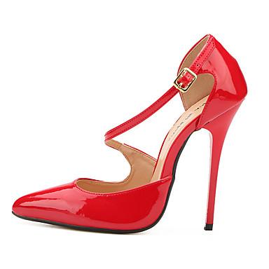 Mulheres Sapatos Couro Ecológico Verão Outono Plataforma Básica Saltos Salto Agulha Dedo Apontado para Festas & Noite Preto Vermelho