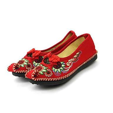 Mulheres Sapatos Tecido Primavera / Outono Conforto Rasos Sem Salto Dedo Apontado Presilha / Flor para Social Preto / Vermelho