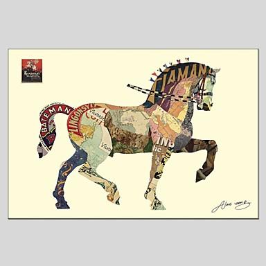 Ručně malované Zvířata Obdélníkový, Abstraktní Plátno Hang-malované olejomalba Home dekorace Jeden panel