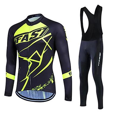 Fastcute Heren Dames Lange mouw Wielrenshirt met strakke wielrenbroek - Zwart Fietsen Pakken, 3D Pad, Houd Warm, Sneldrogend, Fleece