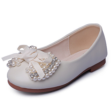 Para Meninas sapatos Courino Primavera Outono Rasos Pedrarias Laço Pérolas Sintéticas para Bege Rosa claro