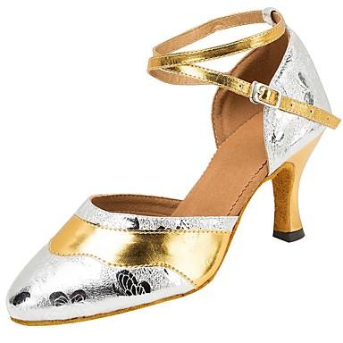 Mulheres Moderna Sandália Salto Profissional Presilha Rendado Salto Personalizado Dourado 3 - 3 3/4inch 2 - 2 3/4inch 1 - 1 3/4inch >